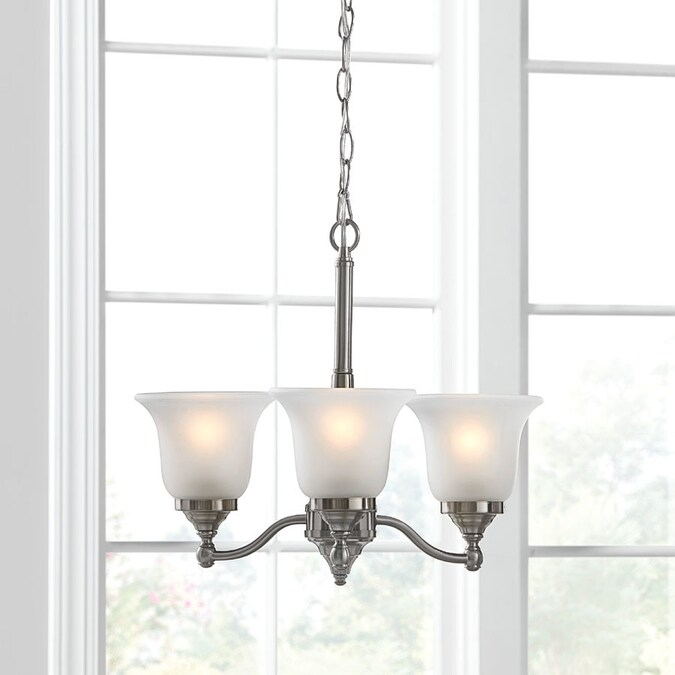 Review of Portfolio Roseall 3-Light Brushed Nickel Traditional Etched Glass Shaded Chandelier