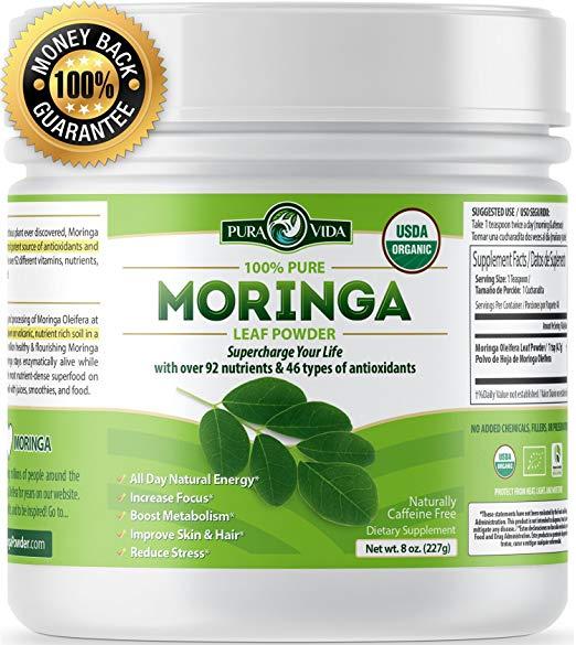 PURA VIDA Moringa Oleifera Powder: USDA Certified Organic