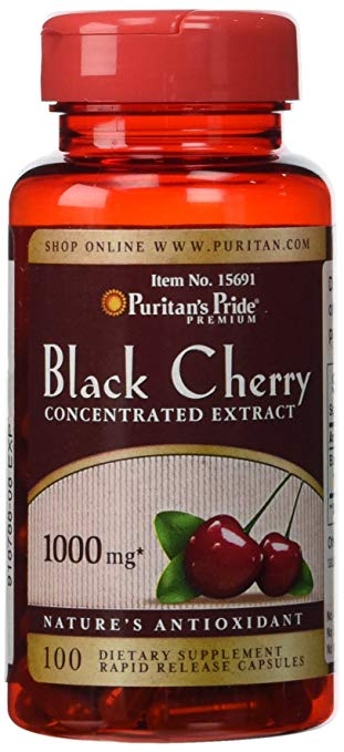 Puritans Pride Black Cherry 1000 Mg Capsules, 100 Count