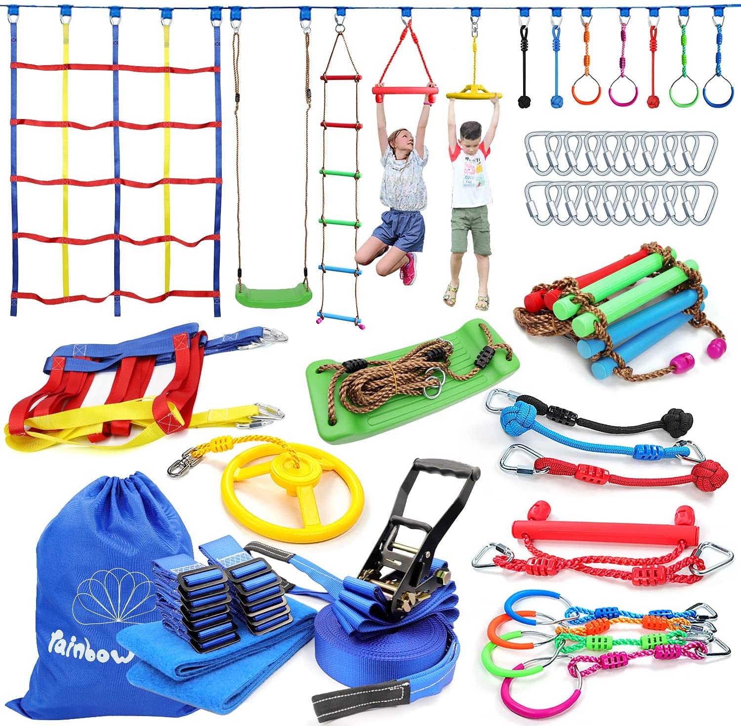 Review of Rainbow Craft 50ft Ninja Warrior Obstacle Course for Kids