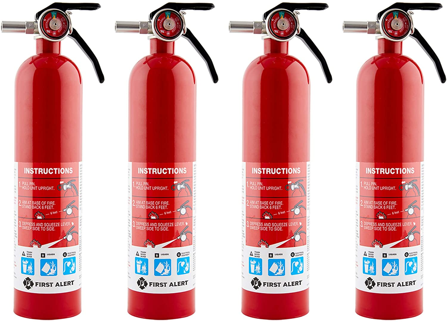 Rechargeable Home Fire Extinguisher 4-Pack, by First Alert HOME1