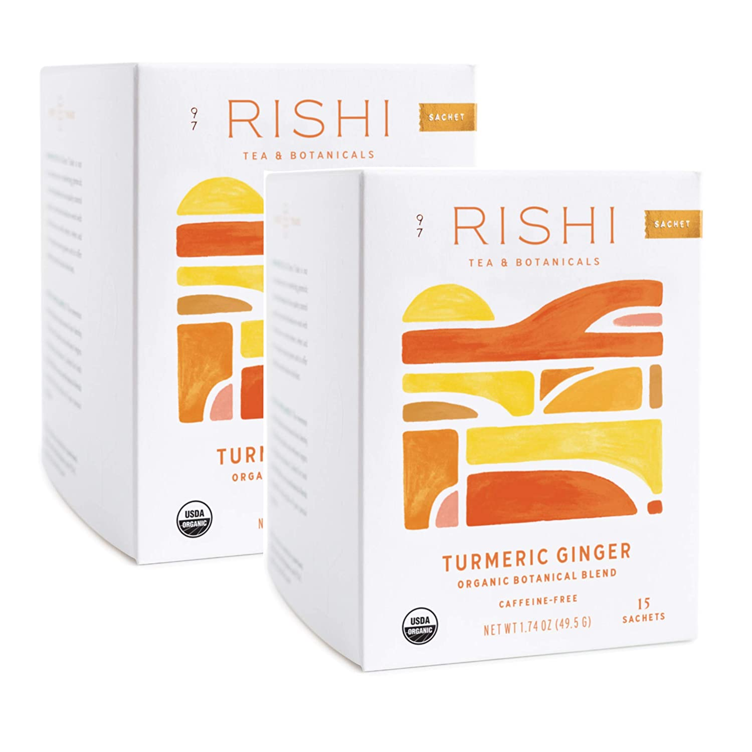 Review of Rishi Tea Turmeric Ginger Tea, Organic Caffeine-Free Herbal Tea Sachet Bags, 15 Count (Pack of 2)