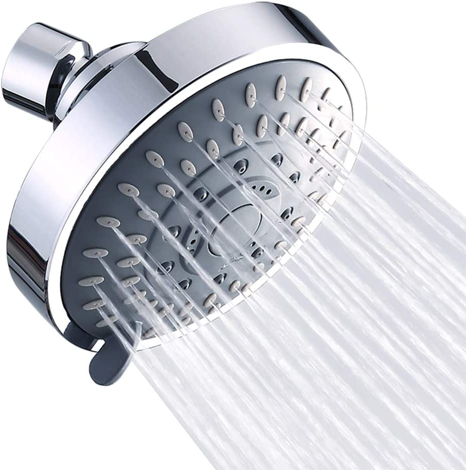 Review of Shower Head High Pressure Rain Fixed Showerhead Rainfall 5-Setting with Adjustable Metal Swivel Ball Joint
