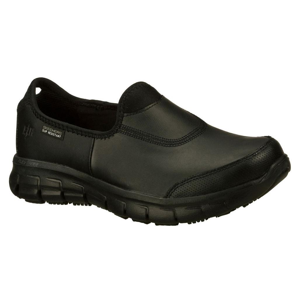 Review of Skechers Sure Track Women Black Leather Work Shoe