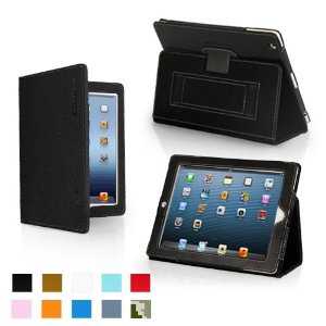 Snugg iPad and iPad-mini Case - Leather Case Cover and Flip Stand with Elastic Hand Strap