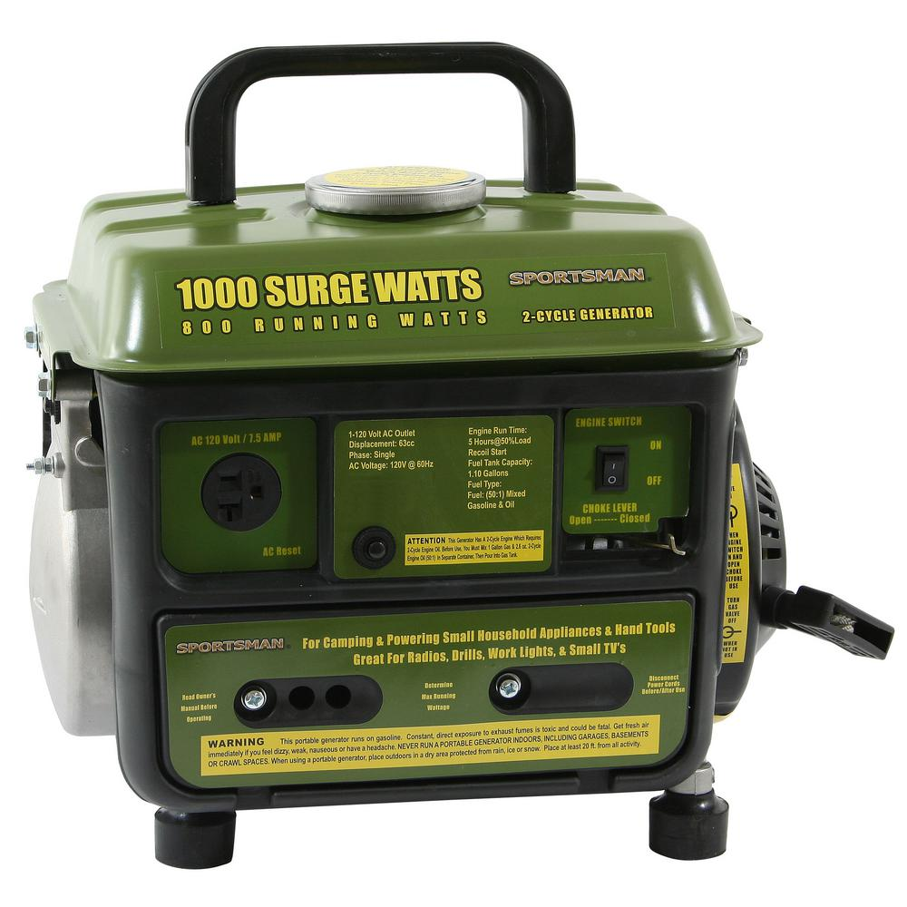 Review of Sportsman 1,000/900-watt Gasoline Powered Portable Generator with 2-Stroke Brushless Motor