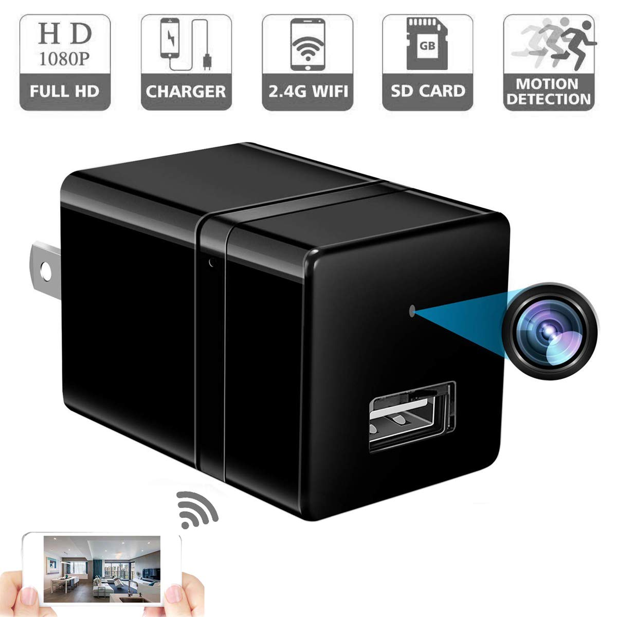 Review of Spy Camera Wireless Hidden - USB Wall Charger Camera -Nanny Cam with Cell Phone App by SPOOKER