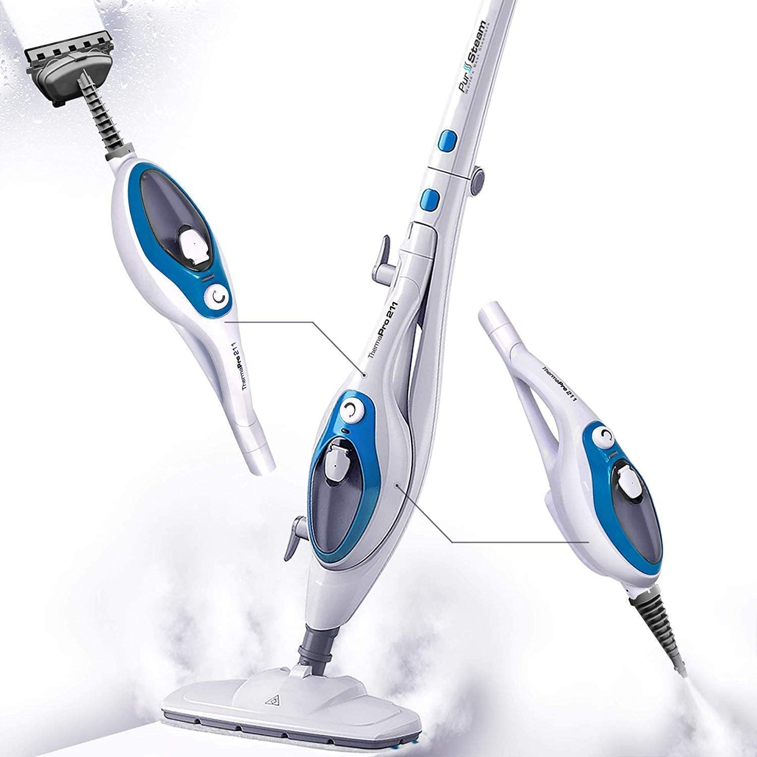 Steam Mop Cleaner ThermaPro 10-in-1 with Convenient Detachable Handheld Unit by PurSteam
