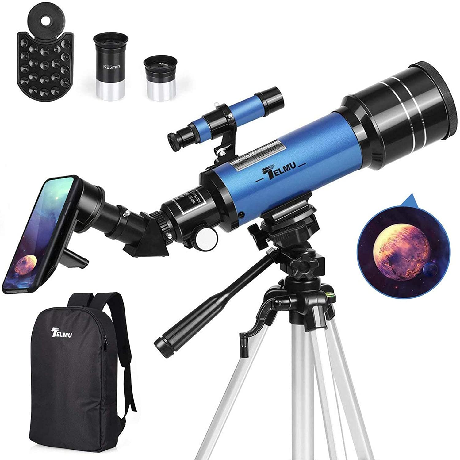 Review of - TELMU Telescope, 70mm Aperture, 400mm AZ Mount Astronomical Refracting