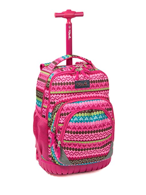 Review of Tilami New Antifouling Design 18 Inch Oversized load multi-compartment Wheeled Rolling Backpack Luggage for Kids