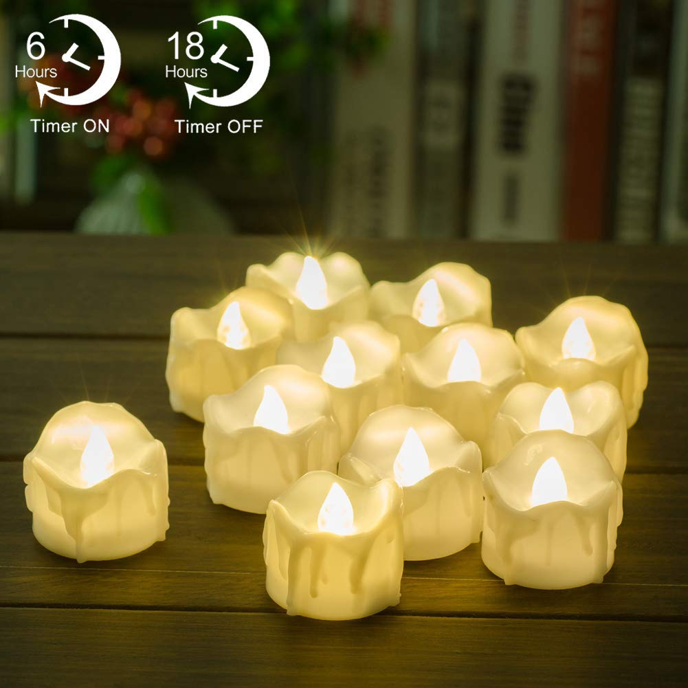 Review of Timer Candles, 12pcs PChero Battery Operated LED Decorative Candles, 6 Hours On and 18 Hours