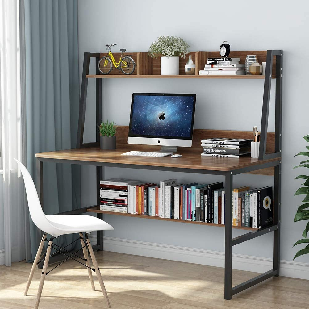 Tribesigns Computer Desk with Hutch and Bookshelf, 47 Inches