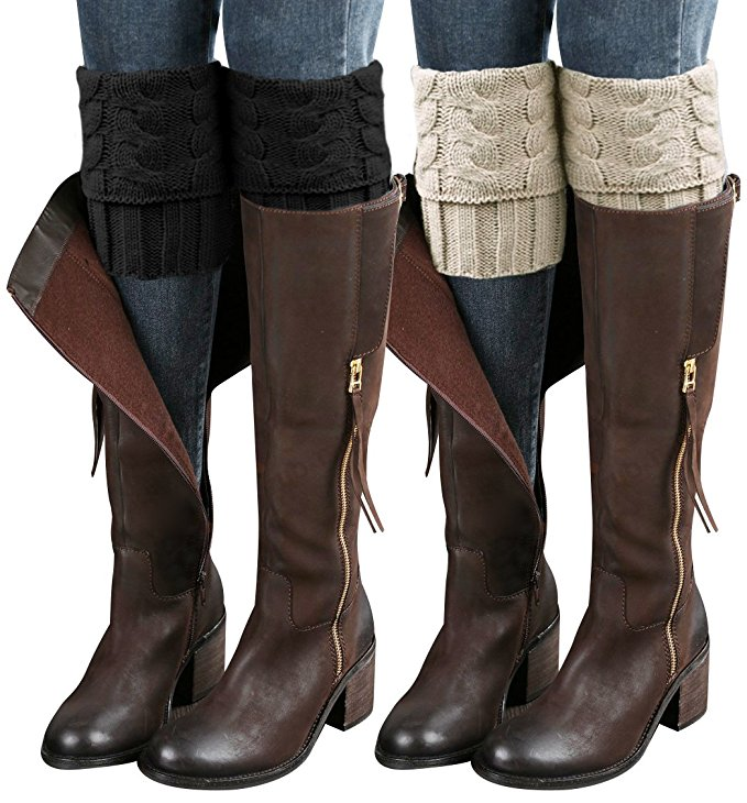 Review of 2 Pairs Womens Boot Leg Cuffs, Leg Warmers Topper Socks, Boot Socks for Women