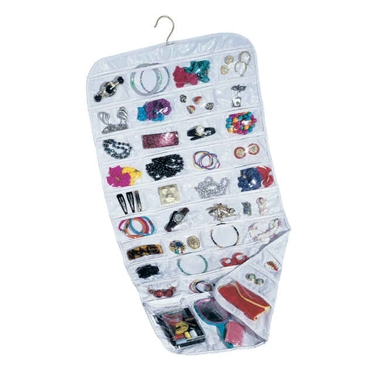 Review of Household Essentials 80-Pocket Hanging Jewelry and Accessories Organizer, White Vinyl