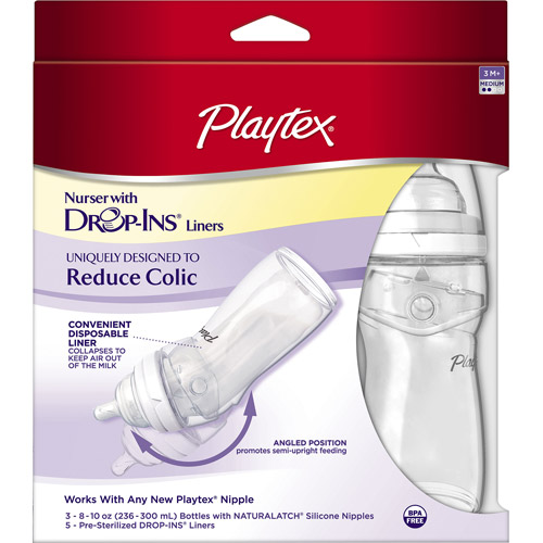 Review of Playtex Drop-Ins Nurser 8-oz Baby Bottles, Set of 3, BPA-Free