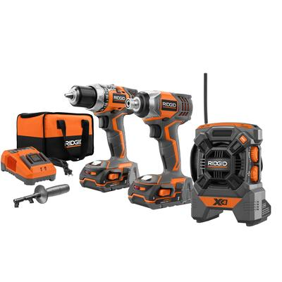 RIDGID 18-Volt X4 Hyper Lithium-Ion Cordless Drill and Impact Driver Combo Kit with Radio