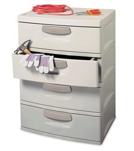 Sterilite 01748501 4-Drawer Unit with Putty Handles, Light Platinum