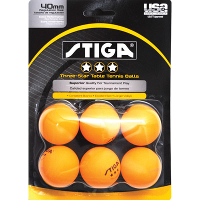 Stiga 3-Star Orange Table Tennis Balls
