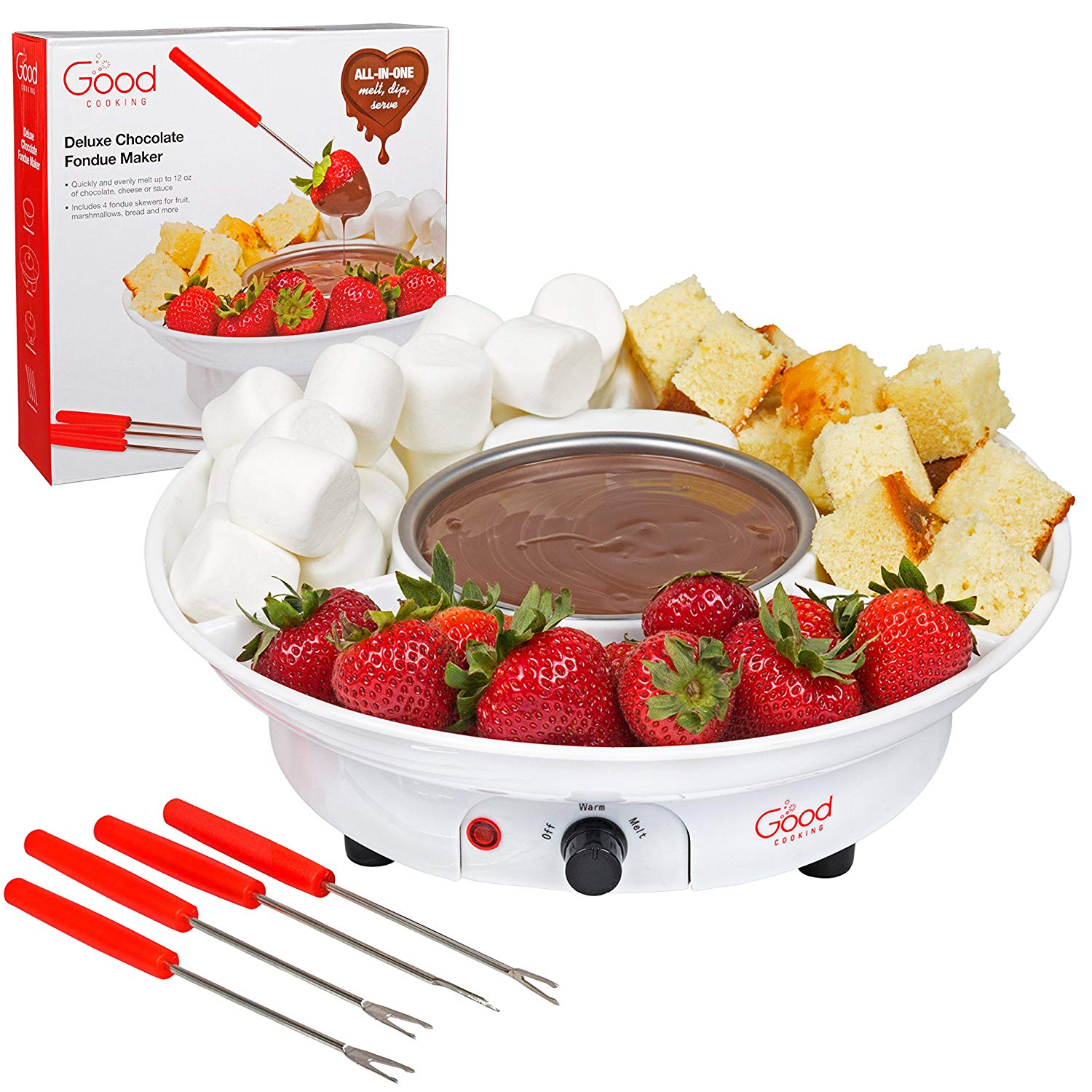 Review of Chocolate Fondue Maker- Deluxe Electric Dessert Fountain Fondu Pot Set with 4 Forks and Party Serving Tray