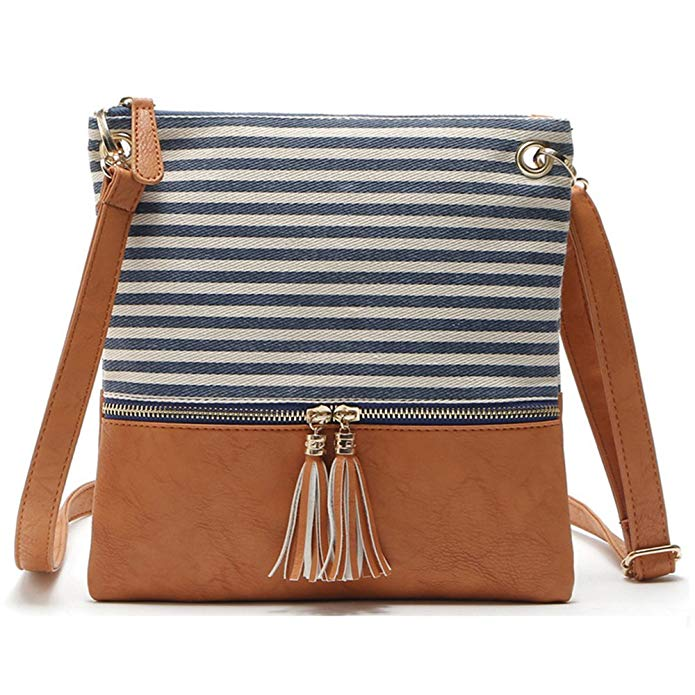 Review of Duketea Stripe Medium Crossbody Purse, Canvas + Faux Leather Crossover Shoulder Bag