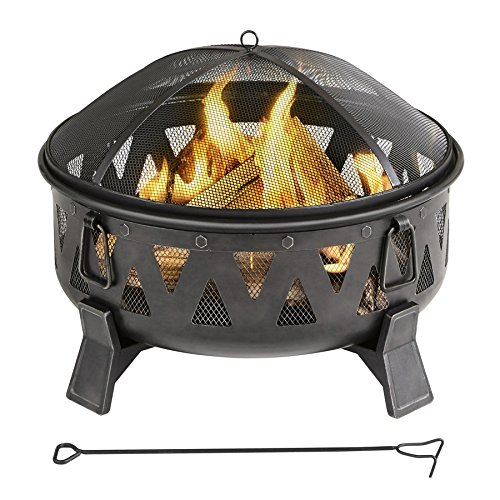 Review of - Garden Treasures 29.92-in W Antique Black Steel Wood-Burning Fire Pit