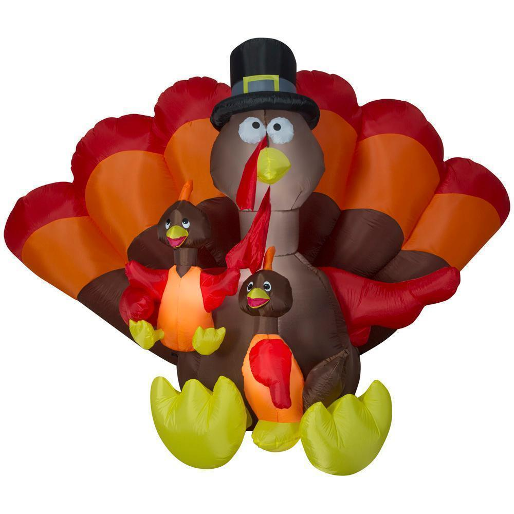 Review of - Gemmy 8.5 ft. Inflatable Turkey Family Scene