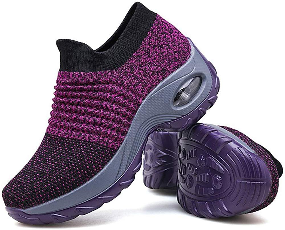 Review of Granteva Women's Walking Shoes Sock Sneakers - Mesh Slip On Air Cushion