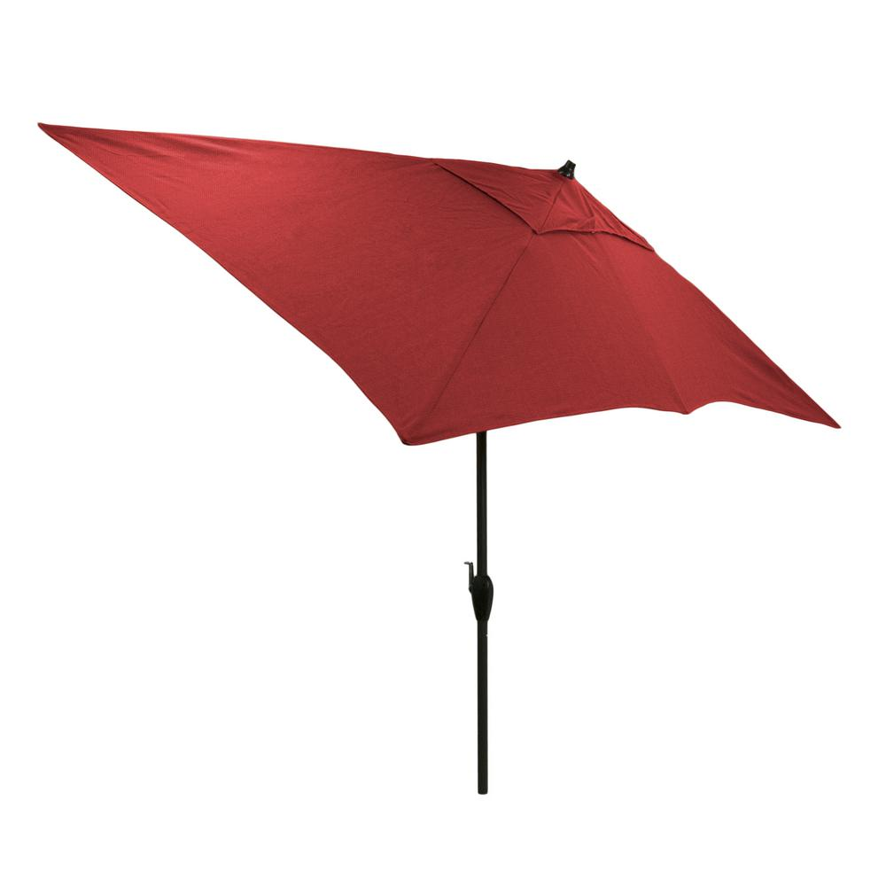 Review of Hampton Bay 10 ft. x 6 ft. Aluminum Patio Umbrella in Chili with Push-Button Tilt