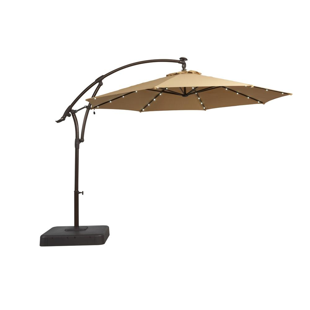 Review of Hampton Bay 11 ft. Solar Offset Patio Umbrella in Cafe