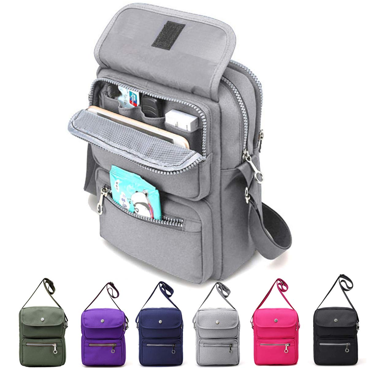 Review of JOSEKO Multi-Pocketed Nylon Cross Body Bag