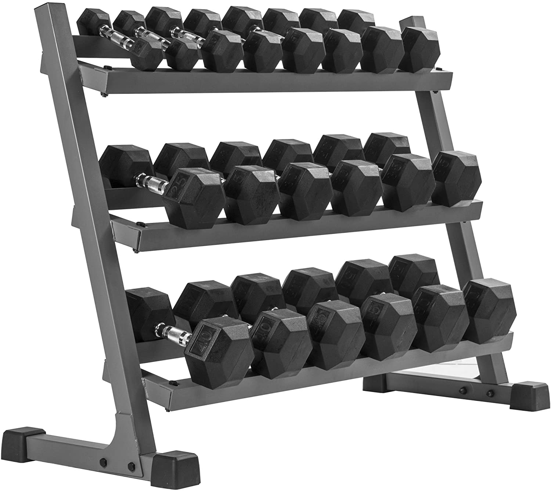 Review of XMark 550 lb Dumbbell Set and Heavy Duty Dumbbell Rack, 5 to 50 lb Hex Dumbbell Set