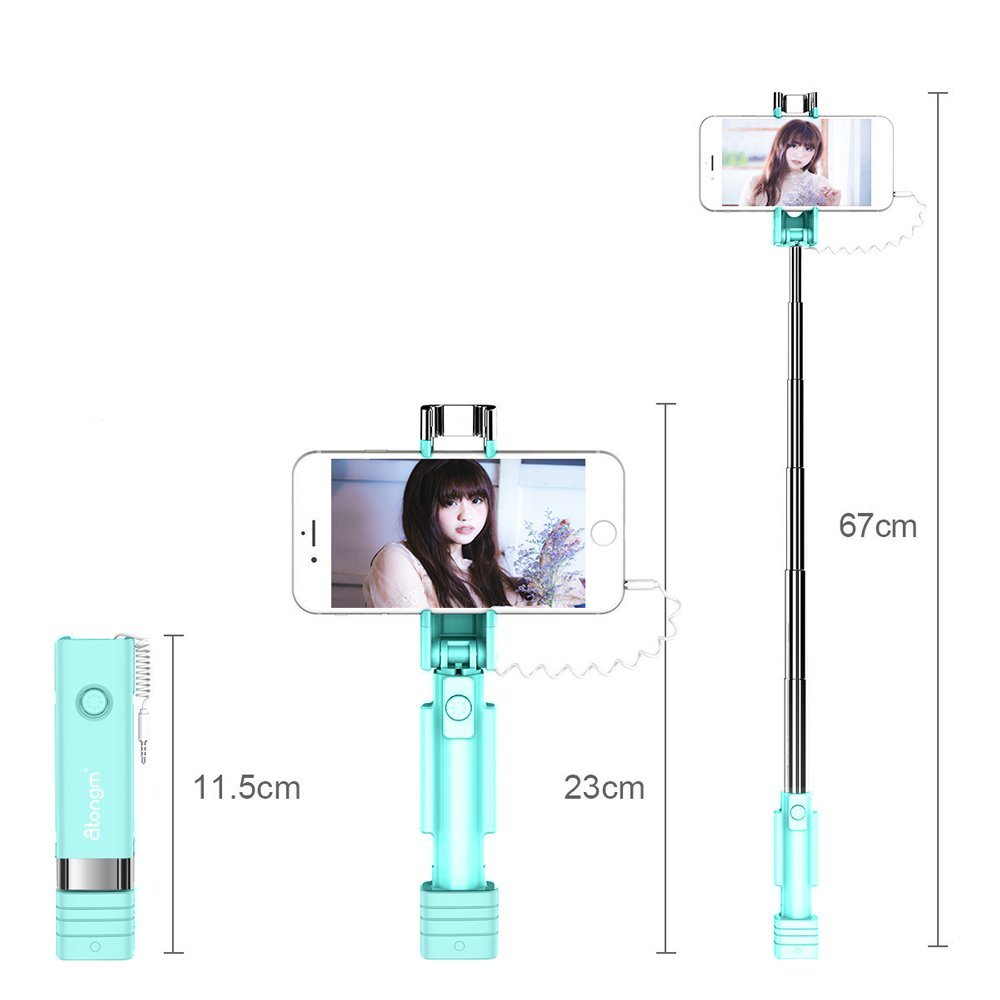 Review of Mini Selfie Stick, Atongm Cell Phone Selfie Sticks Extendable Mini All in One Wire Selfie Stick for Cellphone(iPhone, Android) (Blue)