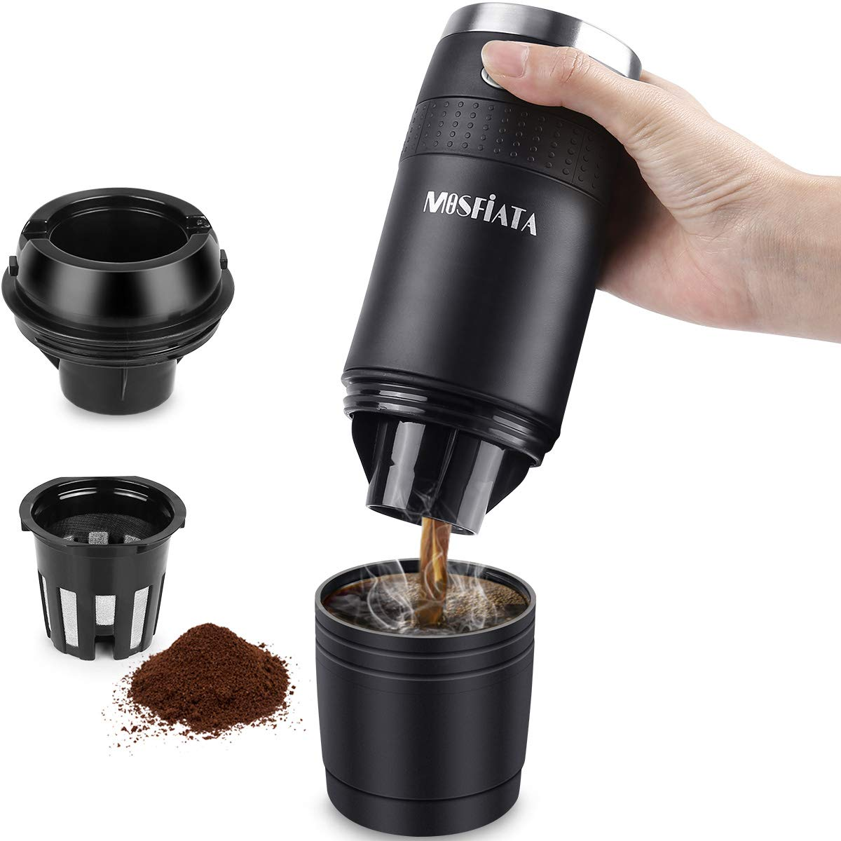 MOSFiATA Portable Coffee Maker, Compatible with K-Cup Capsule and Ground Portable Coffee Machine