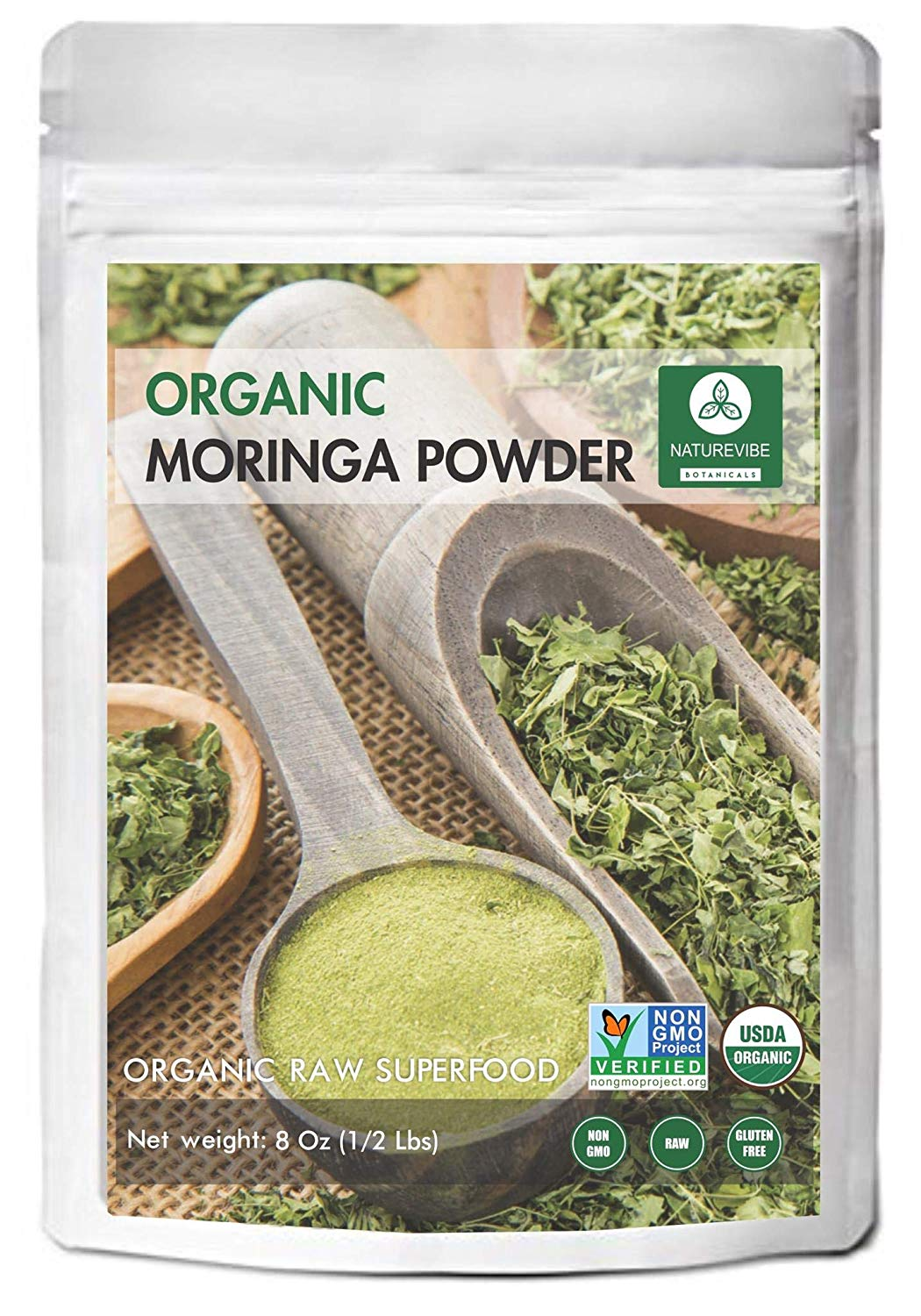 Naturevibe Botanicals Organic Premium Moringa Green Leaf Powder for Weight Loss