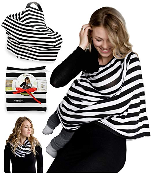 Nursing Breastfeeding Cover Scarf - Baby Car Seat Canopy - Best Multi-Use Infinity Stretchy Shawl