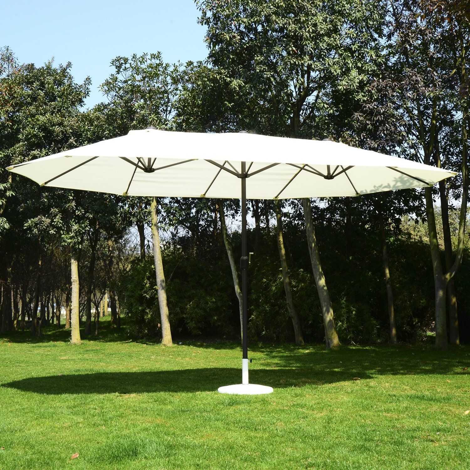 Review of Outsunny 15' Outdoor Patio Market Double-Sided Umbrella - Cream White and Brown