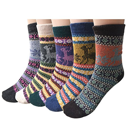 Review of Pack of 5 Womens Vintage Style Thick Wool Warm Winter Crew Socks