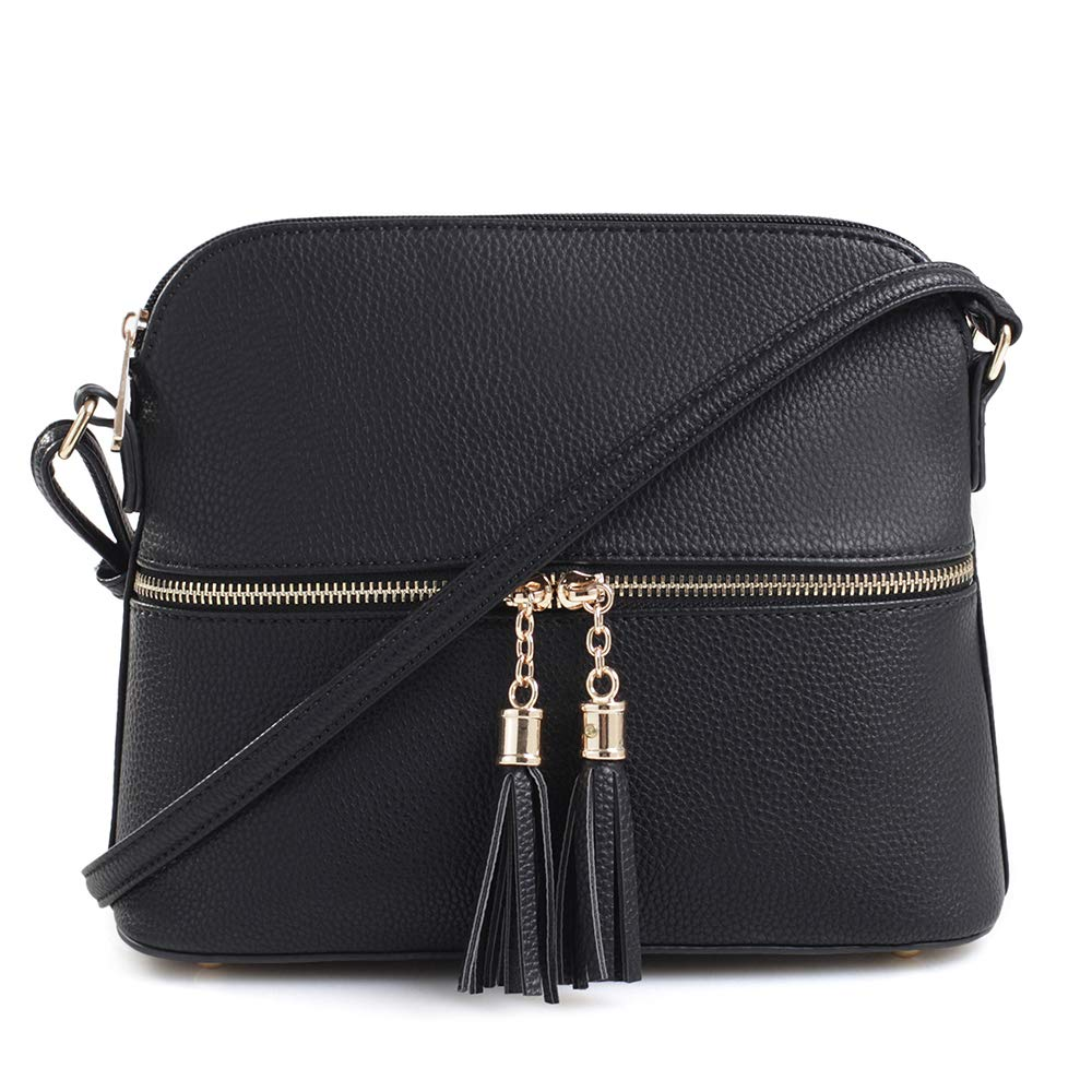 Review of SG SUGU Lightweight Medium Dome Crossbody Bag with Tassel | Zipper Pocket | Adjustable Strap