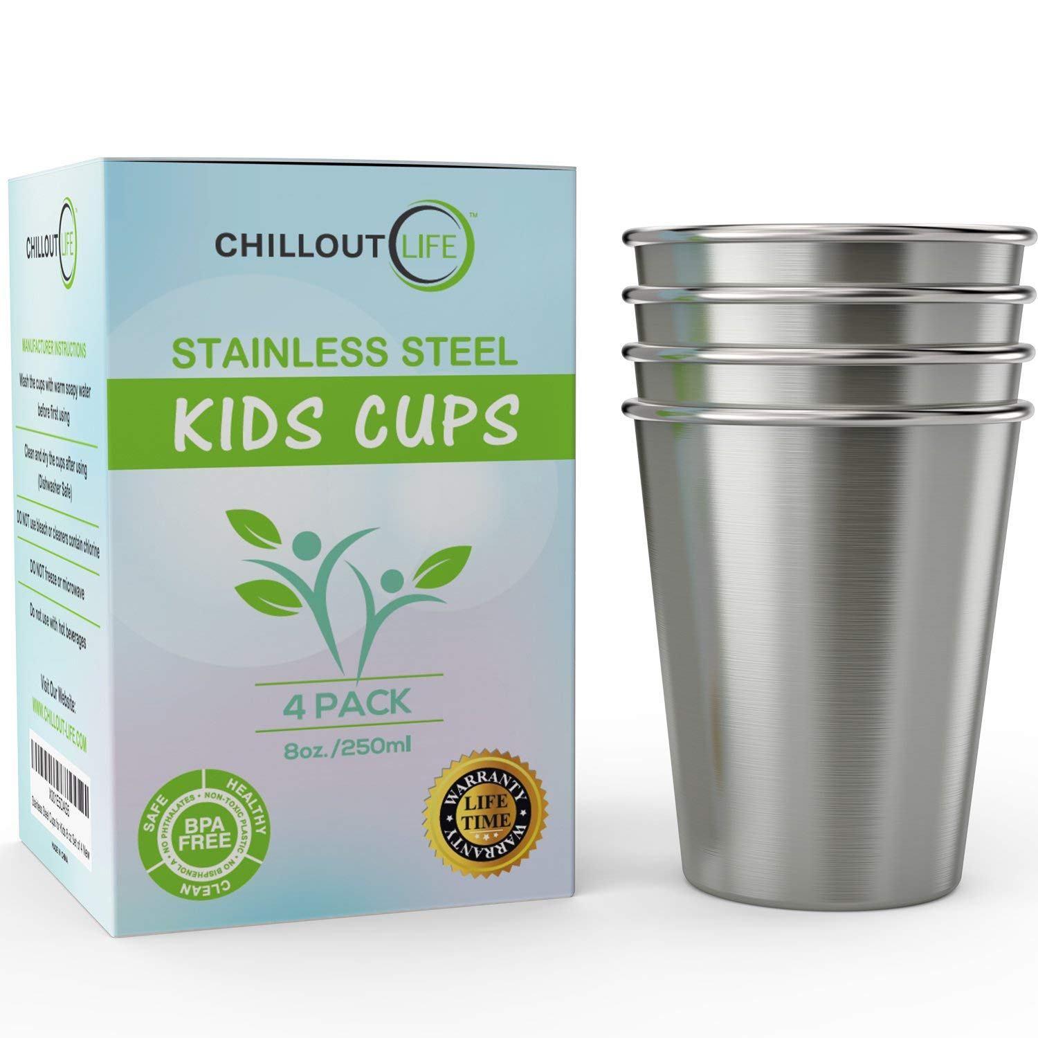 Review of Stainless Steel Cups for Kids and Toddlers 8 oz (4-Pack) by CHILLOUT LIFE