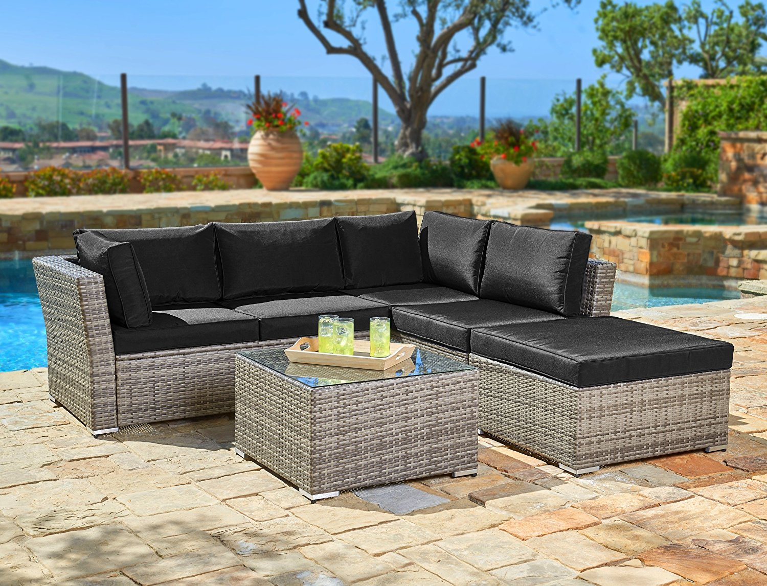 Suncrown Outdoor Furniture Sectional Sofa (4-Piece Set) All-Weather