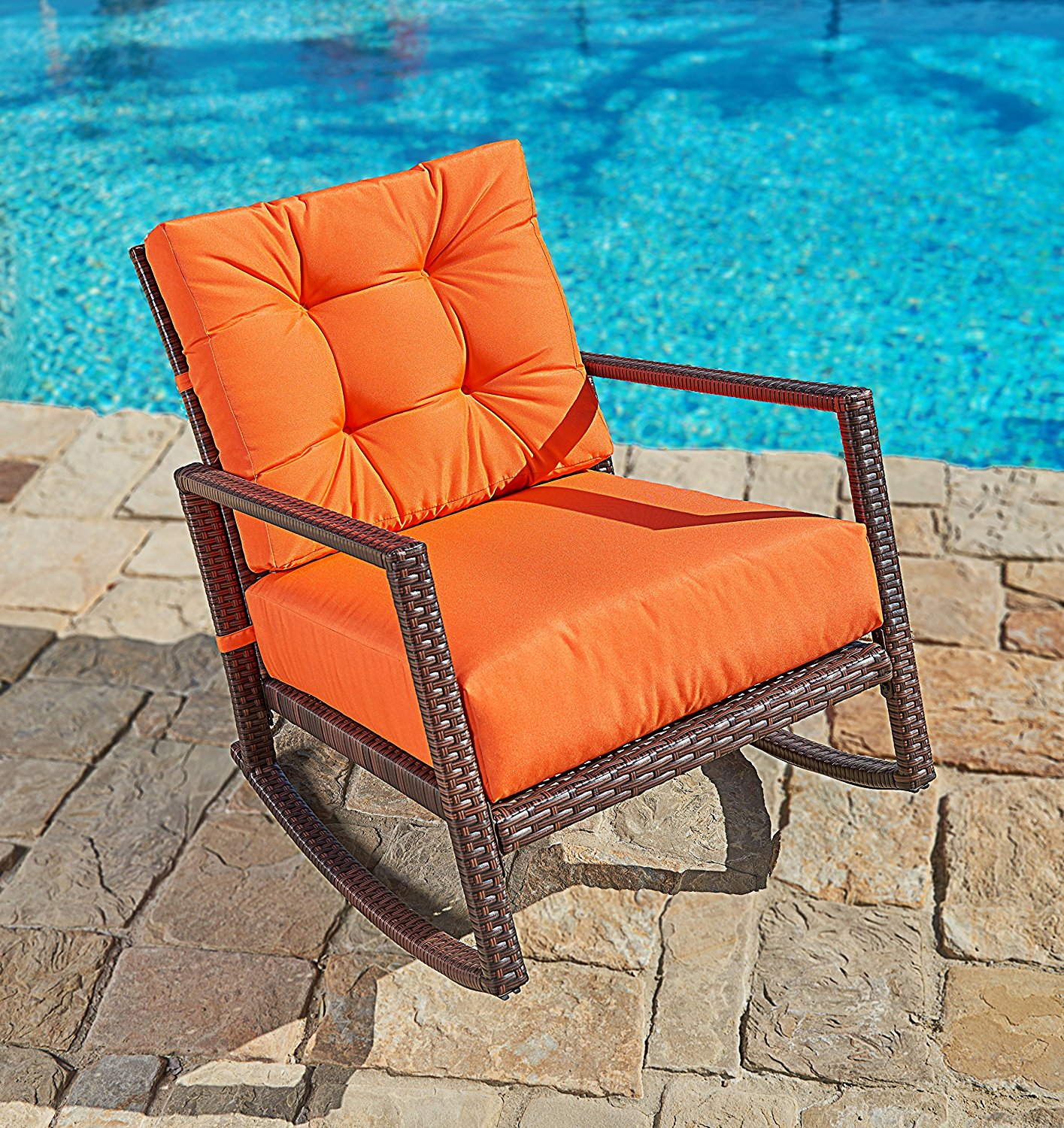 Suncrown Outdoor Furniture Vibrant Orange Patio Rocking Chair