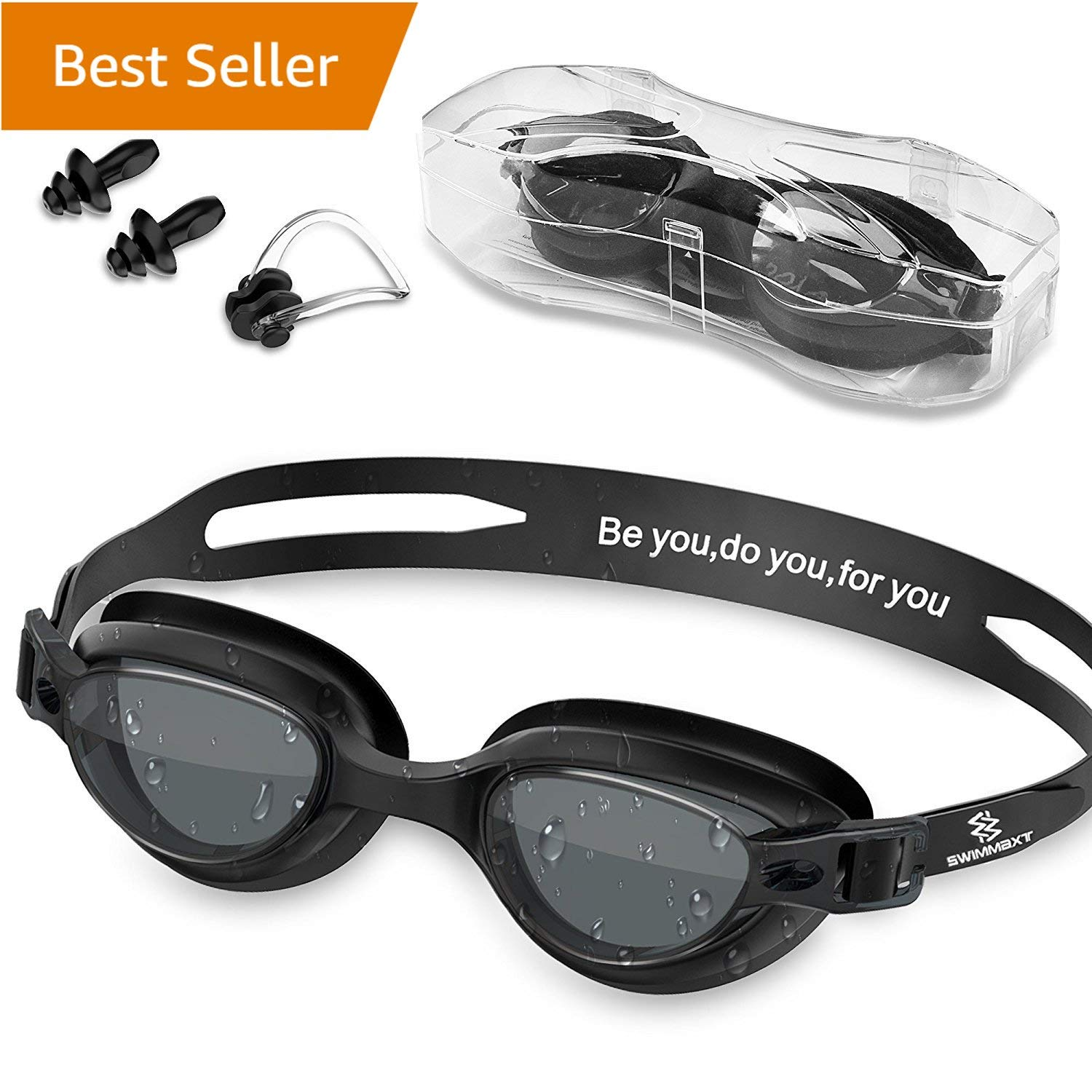 Review of Swim Goggles - Swimming Goggles Nose Clip + Ear Plugs, Anti Fog by Swimmaxt