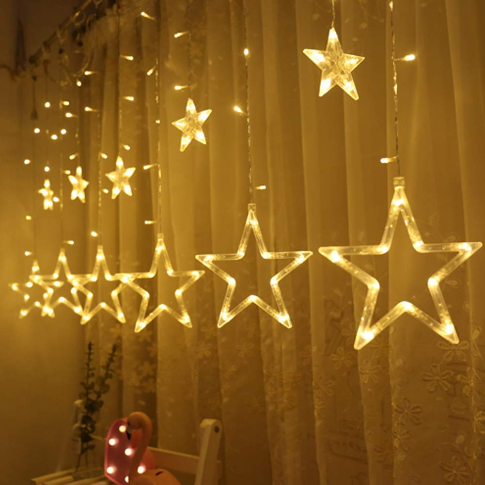 Twinkle Star 12 Stars 138 LED Curtain String Lights, Window Curtain Lights