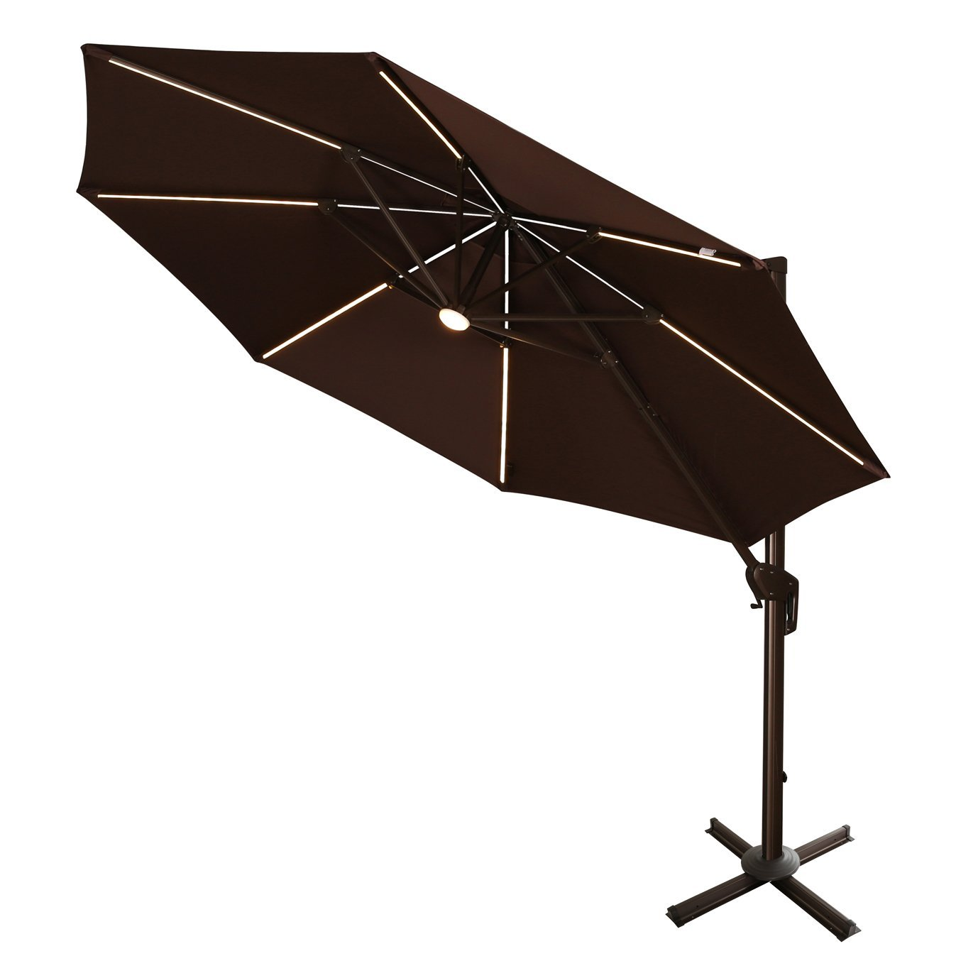 Review of Ulax furniture 360 degree Rotation 11 Ft Deluxe Solar Powered LED Lights Outdoor Offset Hanging Market Umbrella