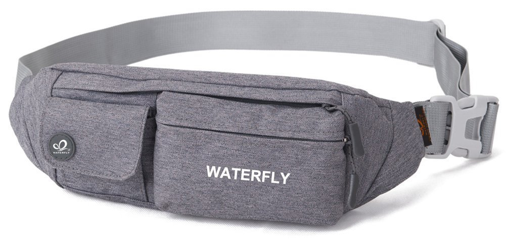 WATERFLY Fanny Pack Slim Soft Polyester Water Resistant Waist Bag for Man Women