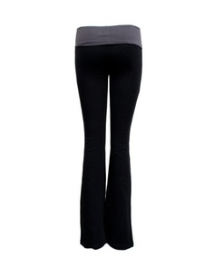 Ladies Color Block Rolled Waist Black Yoga Pants
