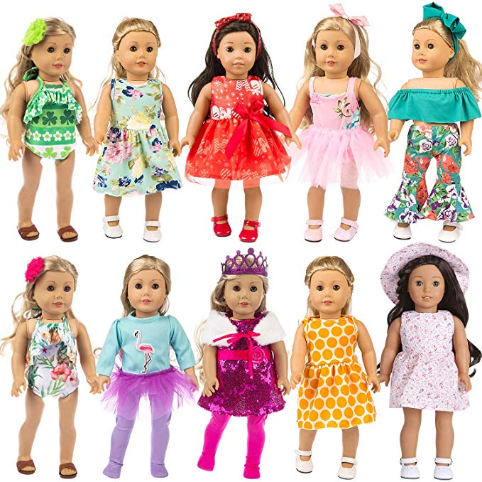 ZITA ELEMENT 24 Pcs Girl Doll Clothes Dress for American 18 Inch Doll Clothes and Accessories